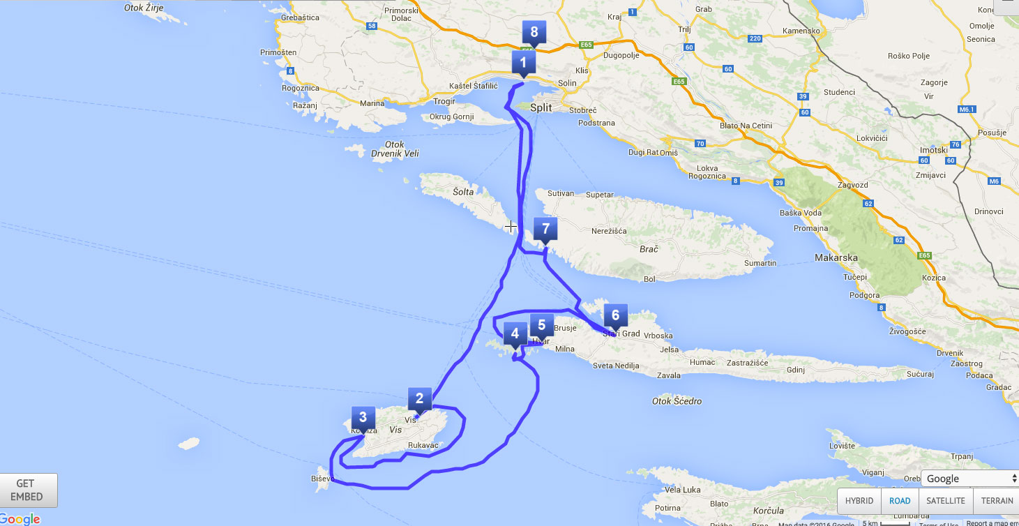 Sailing route 7 days Central Dalmatia